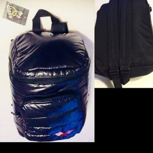 Backpack Black Puffer Book Bag Top Loader
